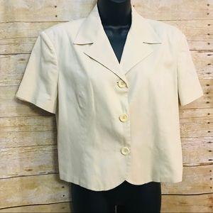 Benetton Blazer Jacket Sz IT 48 Pale Yellow
